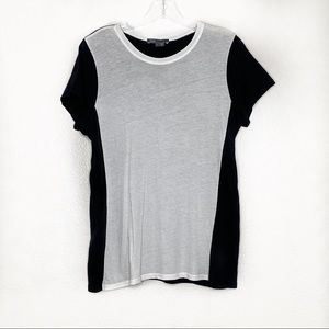 VINCE. Color block round neck top